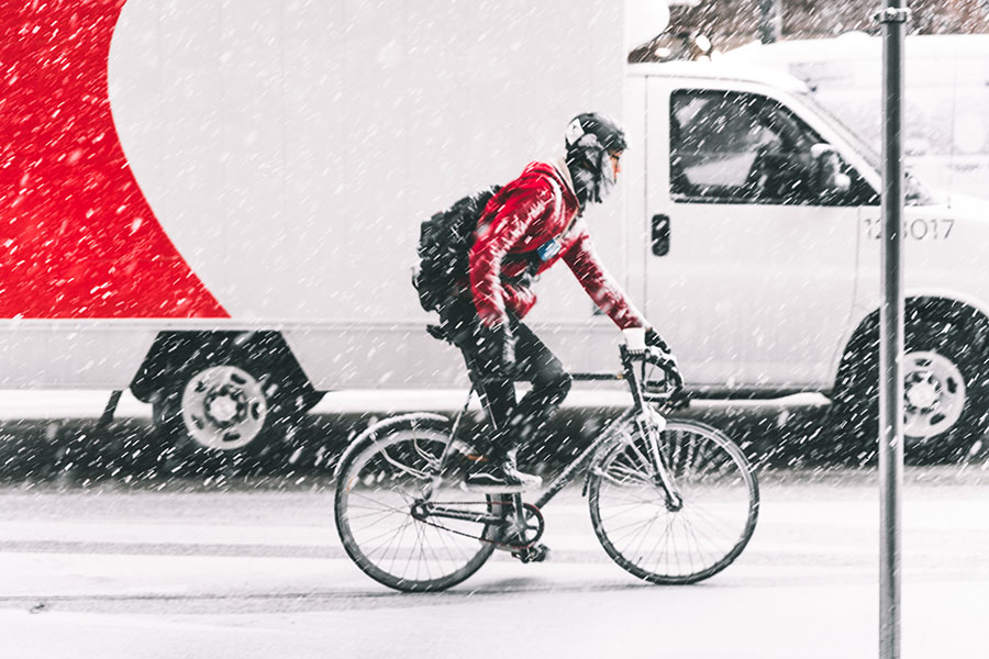 Bicycle Commuter in MN Winter - Biking and Walking Safety