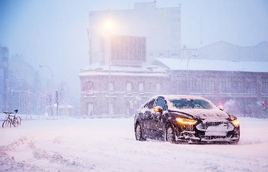 Car Stuck in Snow in Winter