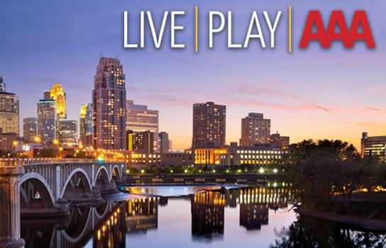 Minneapolis skyline at sunset - LIVE PLAY AAA - Official Publication of AAA Minneapolis