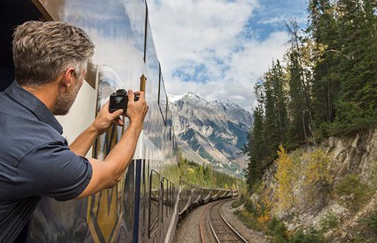 Rail Tourist in the Rocky Mountains of Canada