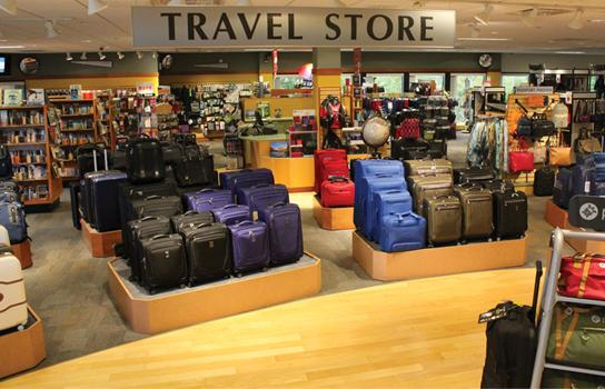 AAA Minneapolis Travel Store front in St. Louis Park Minnesota featuring name-brand luggage