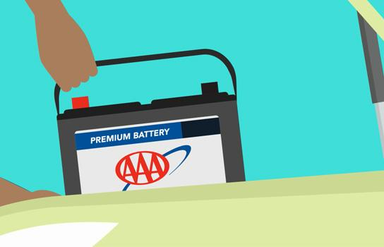 AAA car battery being installed by roadside assistance