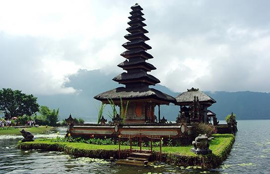 Adventure travel to a temple in Bali