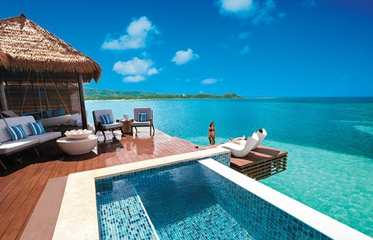 Over-water villa at a Sandals resort in the Caribbean