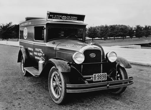 Historical photo of a AAA service vehicle