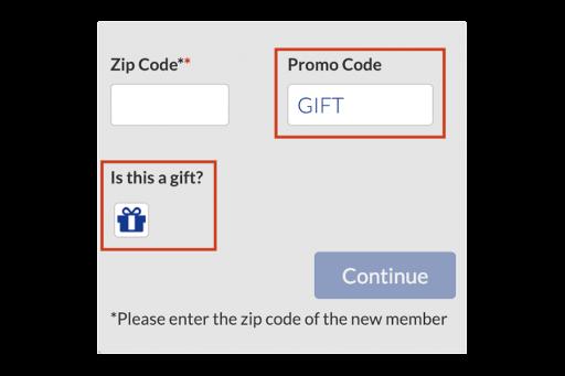 Screenshot of Gift Checkbox and Promo Code GIFT on AAA Membership Form