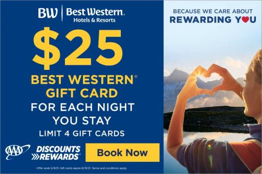 Best Western AAA member gift card offer