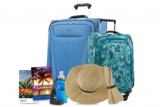 Travel books, sunhat, luggage, and other travel essentials
