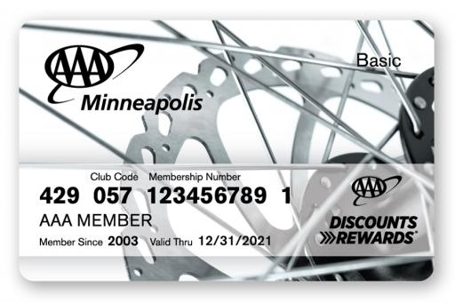 Membership card with bicycle spoke design on the front
