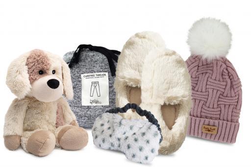Cozy Gifts including Stuffed Animal, PJ Pants, Eye Mask, Slippers and Knit Pom Pom Hat