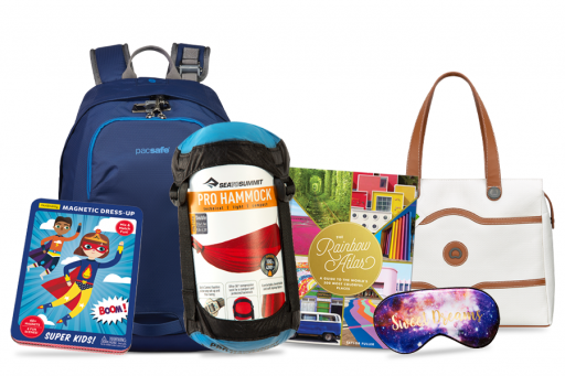 Gift Ideas for Travelers Including Car Games Hammock Atlas Backpack Handbag and Eye Mask