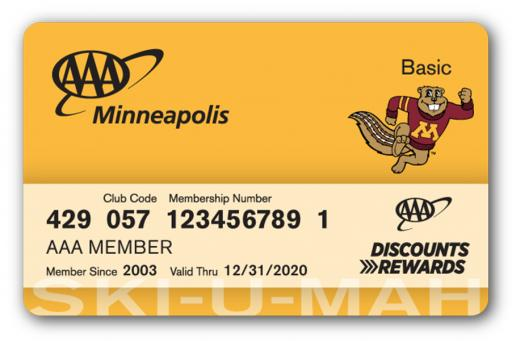 Membership card with University of Minnesota co-branding, including Goldy the Gopher on the front
