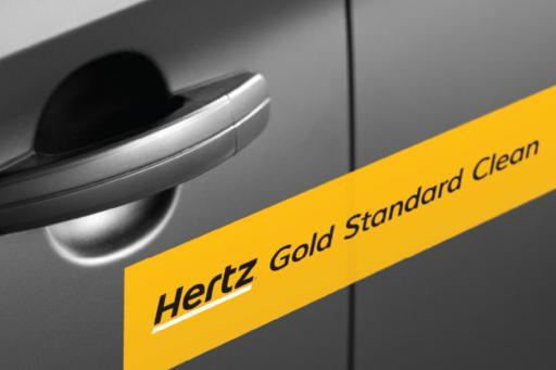 Hertz Rental Car with Gold Standard Clean sticker