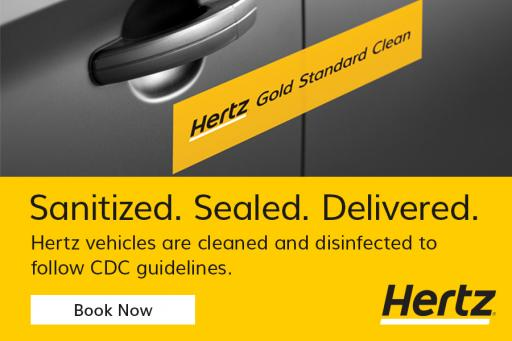 Hertz vehicles are disinfected and sealed for safety click to learn more
