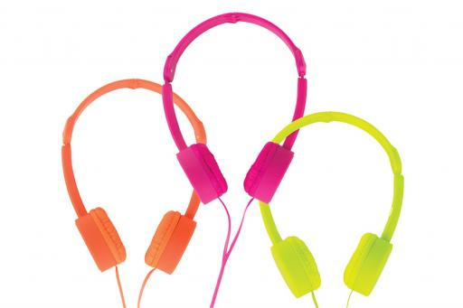 Kids Headphones in Bright Orange Hot Pink and Neon Yellow-Green