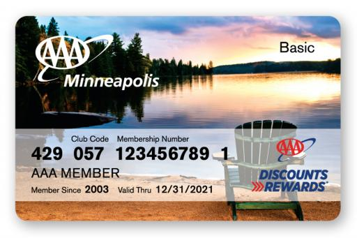 Membership card with lake scene on the front