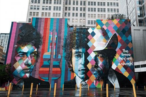 Mural of Bob Dylan in Minneapolis MN