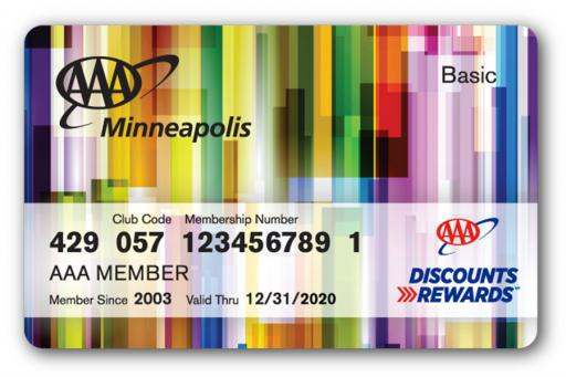 Membership card with multicolor design pattern on the front
