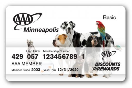 Membership card with a bunch of different animals on the front
