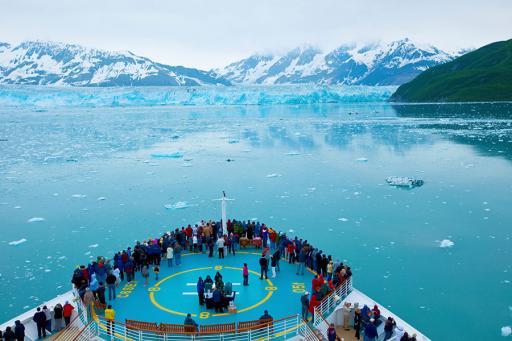 Royal Caribbean Cruise Ship by Hubbard Glacier in Alaska
