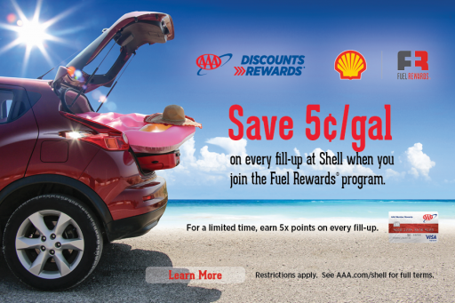 AAA members save at least 5 cents per gallon of gas at Shell with Fuel Rewards - learn more
