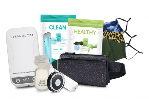 UV sanitizer with air purifier and travel clean kits and face masks