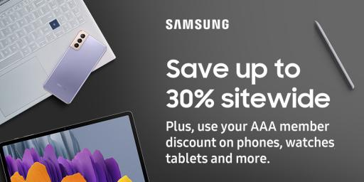 AAA members save up to 30% sitewide on Samsung devices