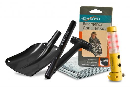Car Safety Tools Including Shovel Emergency Blanket and 4-in-1 Tool
