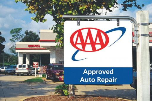 AAA Approved Auto Repair sign in front of a shop